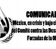 COMUNICADO | México, en crisis y bajo el escrutinio del Comité contra las Desapariciones Forzadas de la ONU