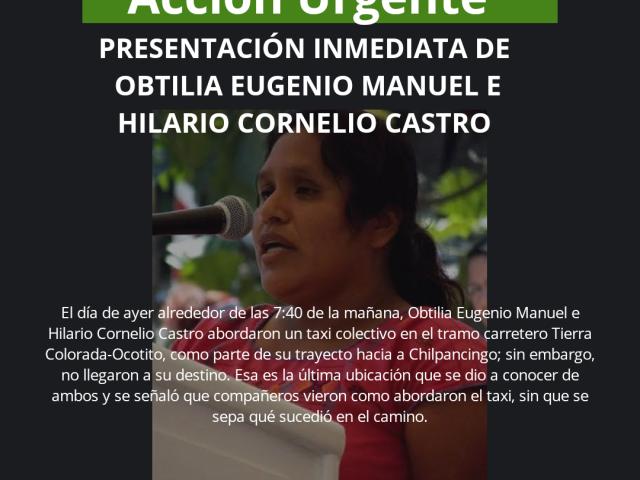 Pronunciamiento | EXIGIMOS LA PRESENTACIÓN CON VIDA DE OBTILIA EUGENIO MANUEL E HILARIO CORNELIO CASTRO