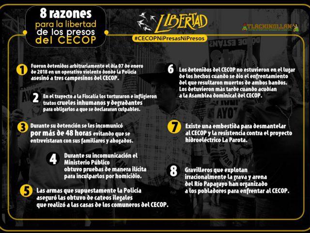 Nota informativa | 8 Razones para la libertad de los presos políticos del CECOP.
