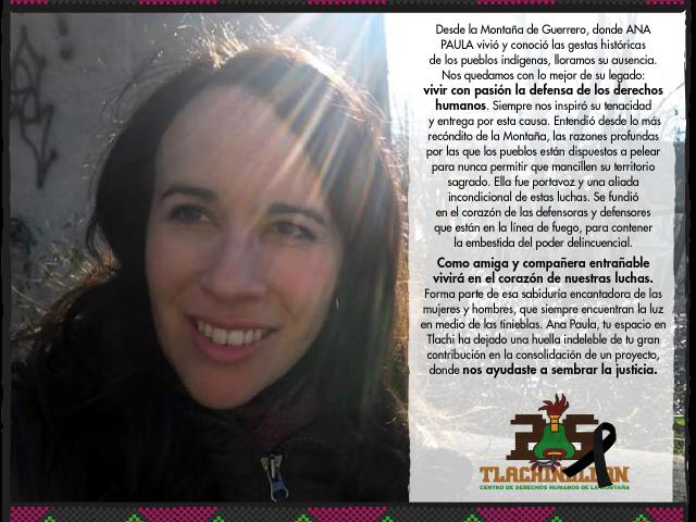 El legado que nos dejó Ana Paula: vivir con pasión la defensa de los derechos humanos
