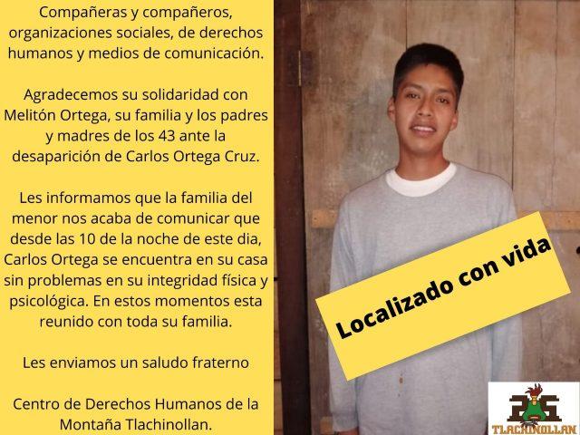 Aparición con vida de Carlos Ortega Cruz