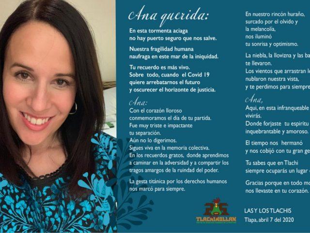 CARTA | Primer aniversario de la pérdida de Ana Paula Hernández