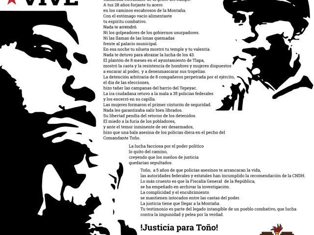 PENSAMIENTO | A 5 años de la ejecución extrajudicial de Antonio Vivar: ¡Justicia para Toño!